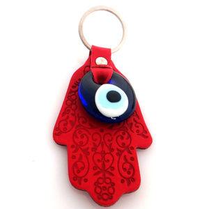 Accessories - Evil Eye Hamsa Hand key chain - Pink